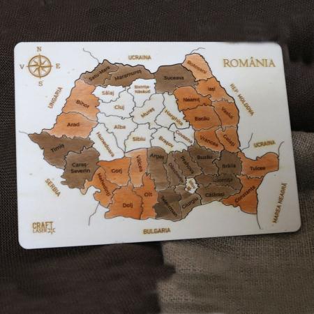 Puzzle educativ Din Lemn, gravat, Harta Romaniei pe judete