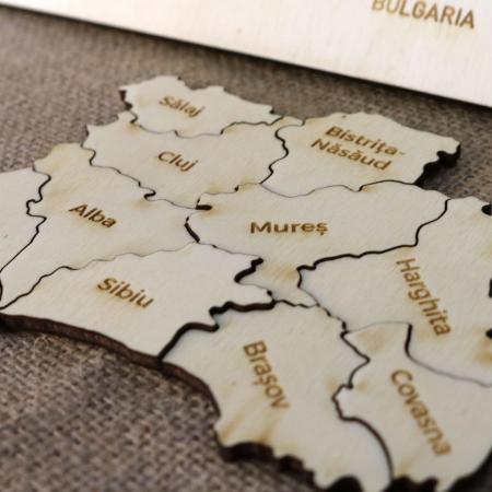 Puzzle Educativ Din Lemn, Gravat, Harta Romaniei Pe Judete si orase2