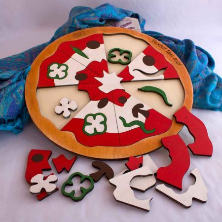 """Puzzle Educativ Pentru Copii , Din Lemn, """"Pizza cu de toate""""3"""