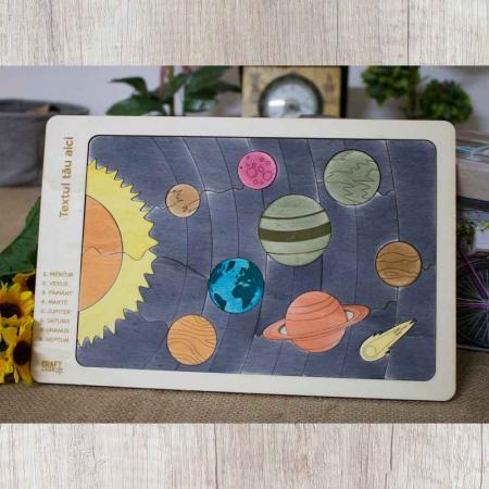 """Puzzle Educativ Pentru Copii , Din Lemn, """"Planete Ale Sistemului Solar"""" [1]"""
