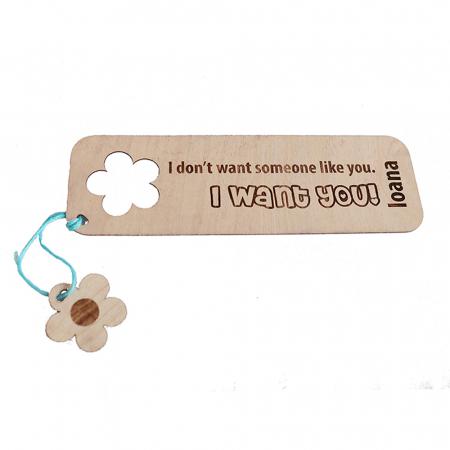 Semn de carte cu mesaj personalizat si decupaj floare [1]