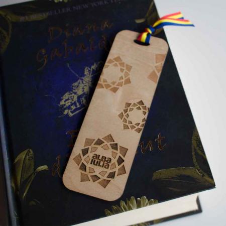 """Semn de carte din lemn """"Cetatea Alba Carolina"""", gravat laser [1]"""