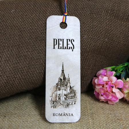 """Semn de carte, din lemn, Gravat """"Castelul Peles"""" Sinaia0"""