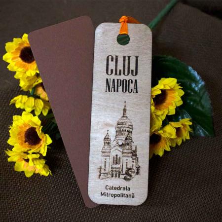 """Semn de carte din lemn, Gravat, """"Catedrala Mitropolitana"""" Cluj Napoca0"""