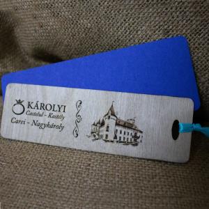 Semn de carte din lemn, gravat Castelul Karolyi Carei [0]
