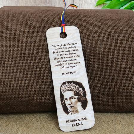 Semn de carte suvenir, din lemn, gravat, Regina mama Elena [0]