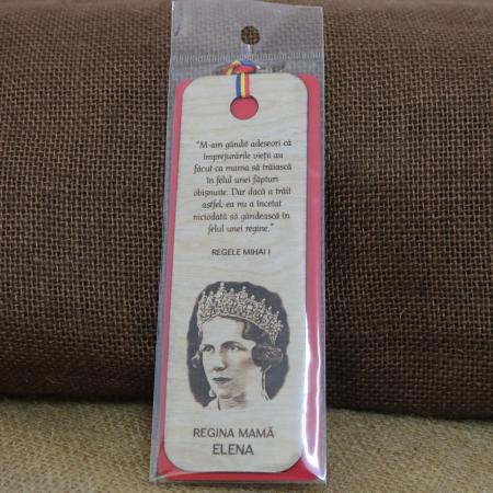 Semn de carte suvenir, din lemn, gravat, Regina mama Elena [2]