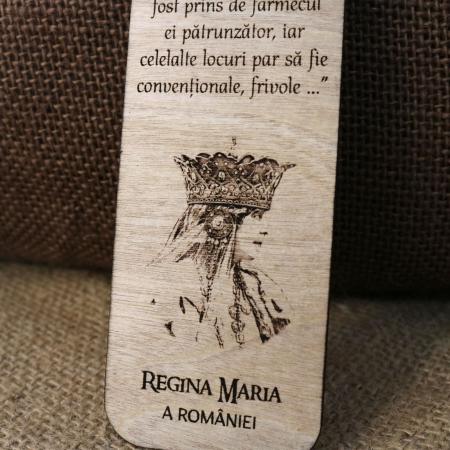 Semn de carte suvenir, din lemn, gravat, Regina Maria a Romaniei - Castelul Bran [1]