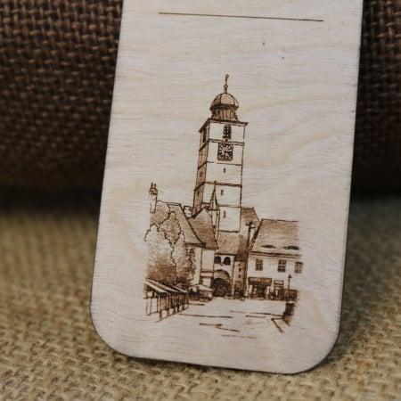 """Semn De Carte suvenir, Din Lemn, Gravat """"Turnul Sfatului"""" Sibiu, desen realizat manual [1]"""