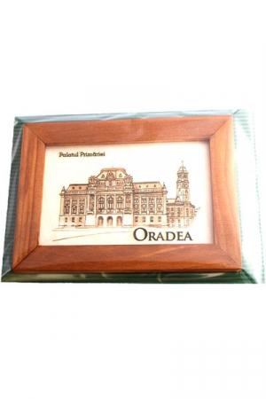 Tablou gravat, Palatul Primariei Oradea, cu rama inclusa 10/15 cm [1]