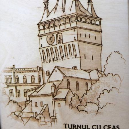 Tablou Gravat  Turnul cu Ceas, Sighisoara, dimensiune 10/15, rama inclusa [2]