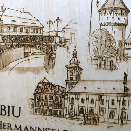 Tablou suvenir Sibiu, gravat (fotogravura), cu rama inclusa 13/18, desen realizat manual [3]