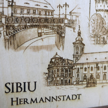 Tablou suvenir Sibiu, gravat (fotogravura), cu rama inclusa 13/18, desen realizat manual [2]