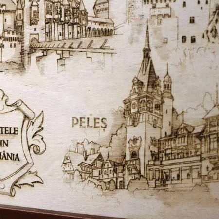 Tablou suvenir Gravat Castele din Romania, dimensiune 13/18, rama inclusa [1]