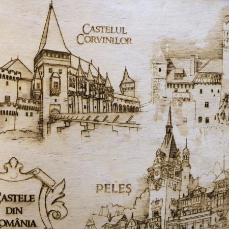 Tablou suvenir Gravat Castele din Romania, dimensiune 13/18, rama inclusa [3]