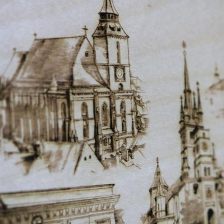 Tablou suvenir Gravat (Fotogravura), Visit Brasov, Rama Inclusa, dimensiune 13 x 18 cm [3]