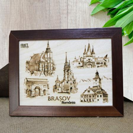 Tablou suvenir Gravat (Fotogravura), Visit Brasov, Rama Inclusa, dimensiune 13 x 18 cm [2]