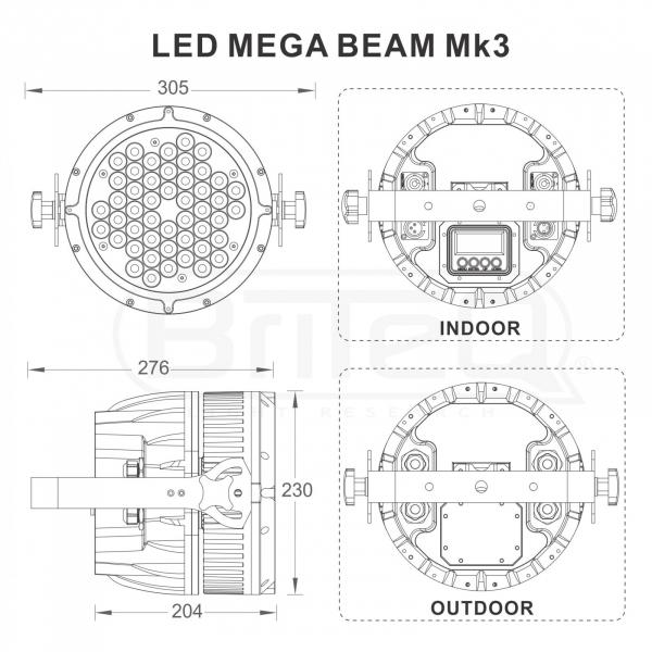 Par LED Briteq LED MEGA BEAM Mk3 7