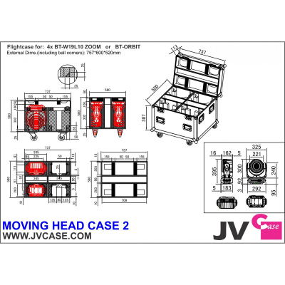 Case Briteq MOVING HEAD CASE 22