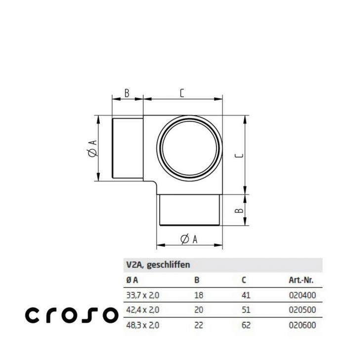 Colt cu iesire verticala  Material AISI 304 Diametru tub [mm] 33,7 X 2 Finisaj Satinat 2