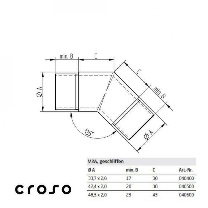 Colt 45°, pentru Ø 33,7x2,0mm  Material AISI 304 Diametru tub [mm] 33,7 X 2 Finisaj Satinat 2