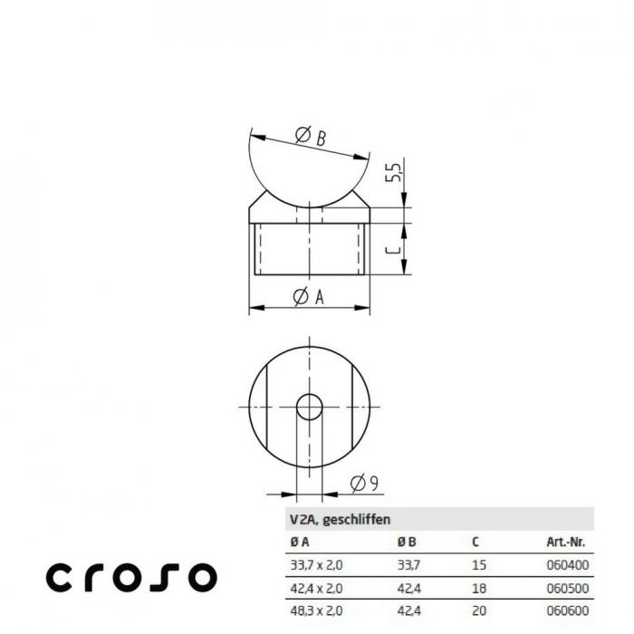 Adaptor, pentru Ø 33,7x2,0mm Material AISI 304 Diametru tub [mm] 33,7 X 2 Finisaj Satinat [2]