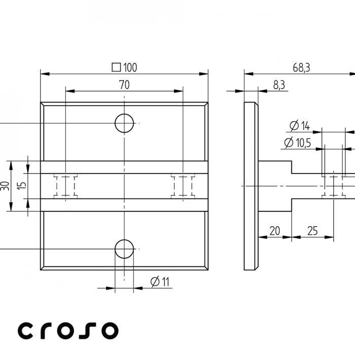 Ancora, 60x100mm  Material AISI 304 Finisaj Satinat 2