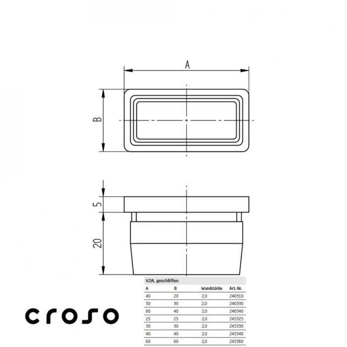 Capac / dop patrat, 25x25x2,0mm  Material AISI 304 Pt teava [mm] 25 X 25 Carne teava [mm] 2 2
