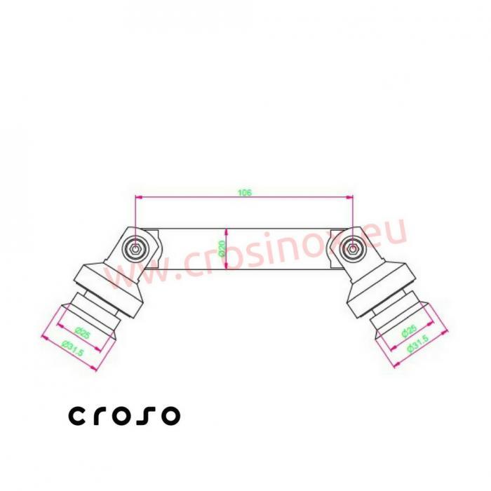 Conector sticla-sticla 103 mm  Material AISI 304 Finisaj Satinat Sticla [mm] - Conectori in punte max 15 1