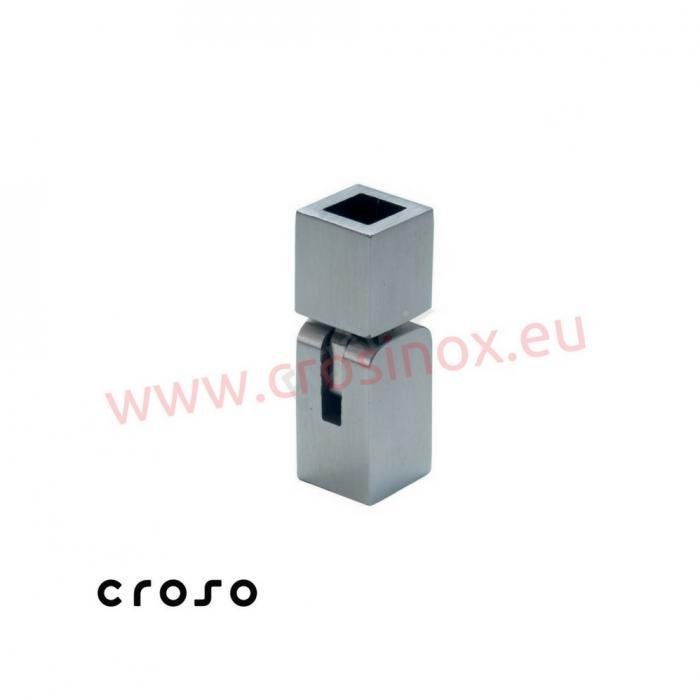 Conector cu articulatie pentru teava patrata  Material AISI 304 Finisaj Satinat Ø traversa 12 X 12 0