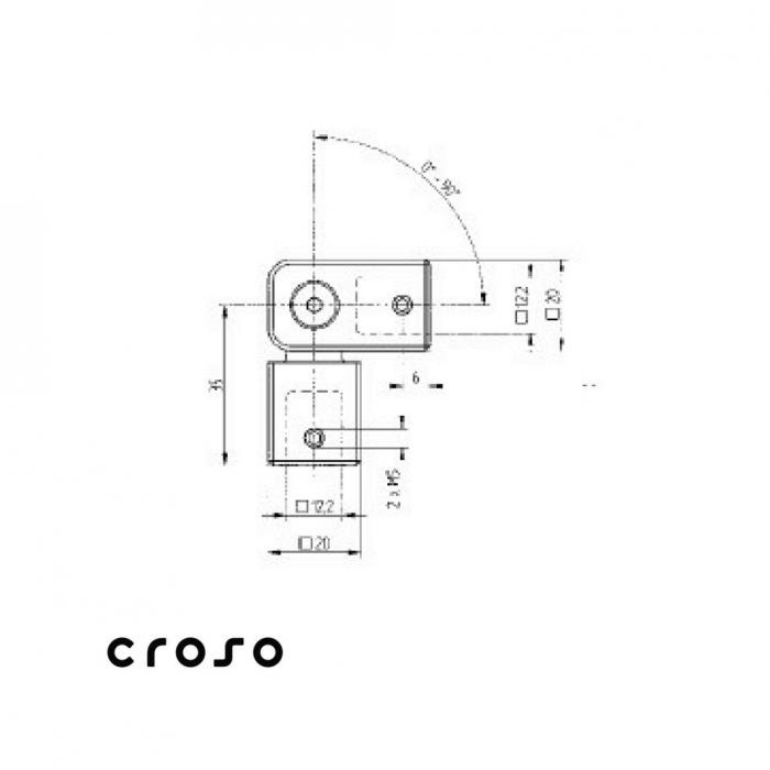 Conector cu articulatie pentru teava patrata  Material AISI 304 Finisaj Satinat Ø traversa 12 X 12 1