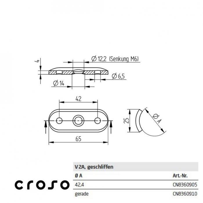 Sa suport, pentru Ø 42,4mm  Material AISI 304 Diametru ext teava [mm] 42.4 Finisaj Satinat 1