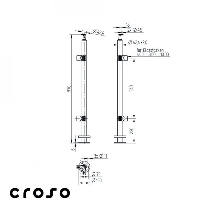 Montant echipat, L=970mm, COLT 90°  Material AISI 304 Finisaj Satinat 1