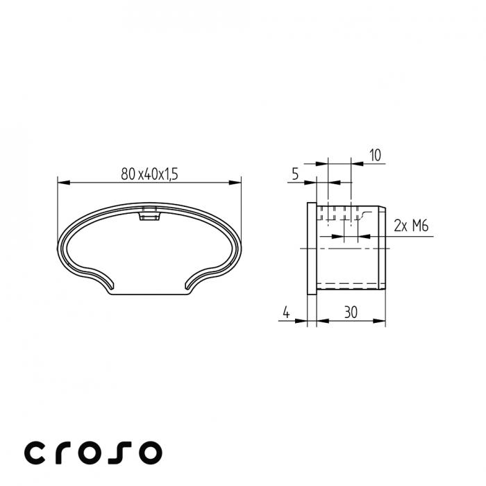 Capac tub profilat oval 80x40mm  Material AISI 316 Finisaj Satinat 1