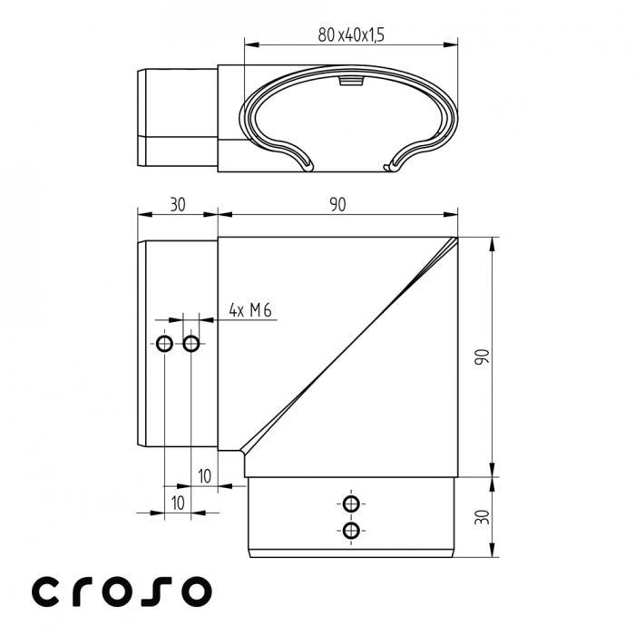 Colt tub profilat oval 80x40mm orizontal  Material AISI 316 Finisaj Satinat 1