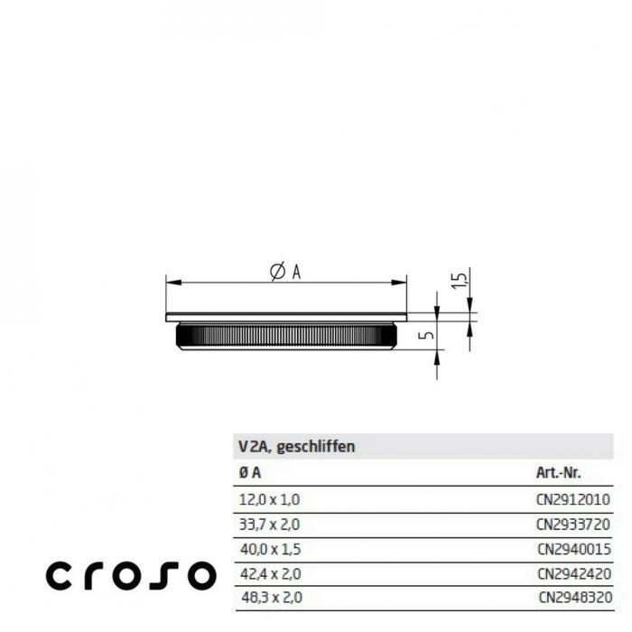 "Capac zimtat ""press in"", pentru Ø 12,0x1,0mm  Material AISI 304 Diametru ext teava [mm] 12 Finisaj Satinat Carne teava [mm] 1 1"