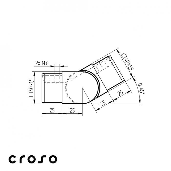 Articulatie in urcare tub profilat 40x40  Material AISI 316 Pt teava [mm] 40 X 40 Finisaj Satinat [1]