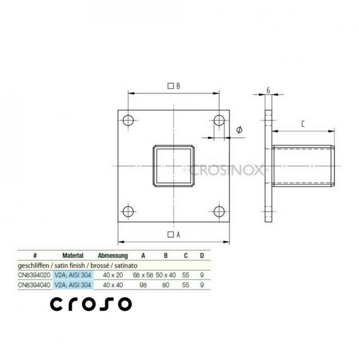 "Flansa ""press in"" AISI304  Material AISI 304 Diametru tub [mm] 40 X 20 X 2 Finisaj Satinat Exterior [mm] 68 X 58 Nr. gauri 4 1"