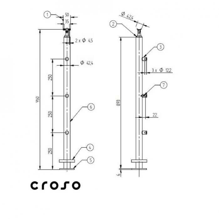 Montant echipat EE / HU / RO  Material AISI 304 Finisaj Satinat 1