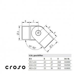 Cot cu articulatie, pentru 33,7x2,0mm Material AISI 304 Diametru tub [mm] 33,7 X 2 Finisaj Satinat1