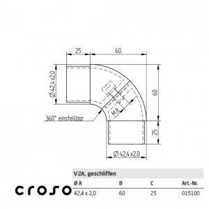 Cot cu defazare  Material AISI 304 Diametru tub [mm] 42,4 X 2 Finisaj Satinat2