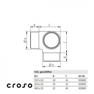 Colt cu iesire verticala  Material AISI 304 Diametru tub [mm] 33,7 X 2 Finisaj Satinat2