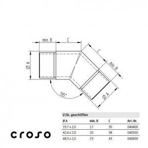 Colt 45°, pentru Ø 33,7x2,0mm  Material AISI 304 Diametru tub [mm] 33,7 X 2 Finisaj Satinat2