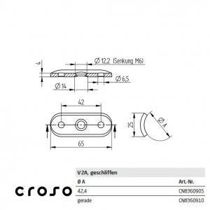 Sa suport, pentru Ø 42,4mm  Material AISI 304 Diametru ext teava [mm] 42.4 Finisaj Satinat1