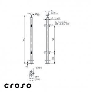 Montant echipat, L=970mm, MIJLOC  Material AISI 304 Finisaj Satinat1