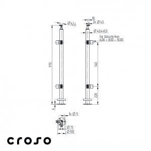 Montant echipat, L=970mm, COLT 90°  Material AISI 304 Finisaj Satinat1