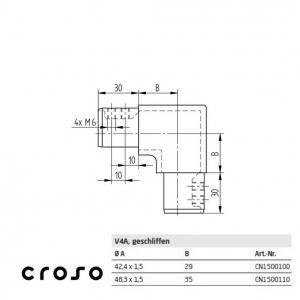 Colt vertical tub profilat Ø 42,4mm  Material AISI 316 Diametru ext teava [mm] 42.4 Finisaj Satinat2