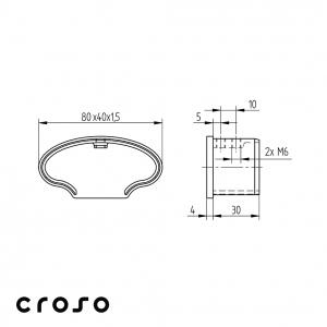 Capac tub profilat oval 80x40mm  Material AISI 316 Finisaj Satinat1