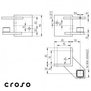 Ancora perete pentru 40/40mm Material AISI 304 Diametru tub [mm] 40 X 40 X 2 Finisaj Satinat2