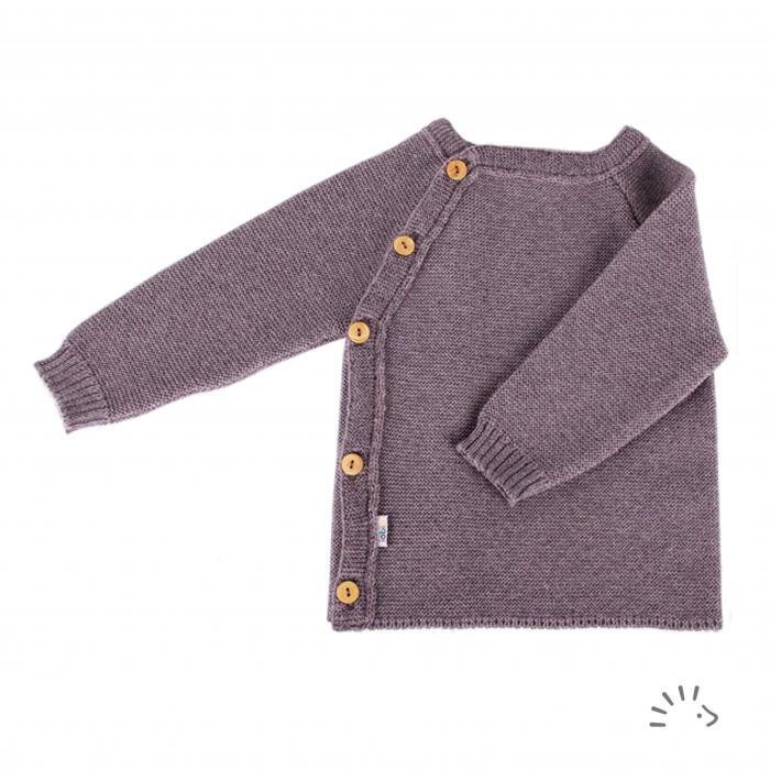 Bluza lana merinos organica tricotata Kimono - Brown [0]